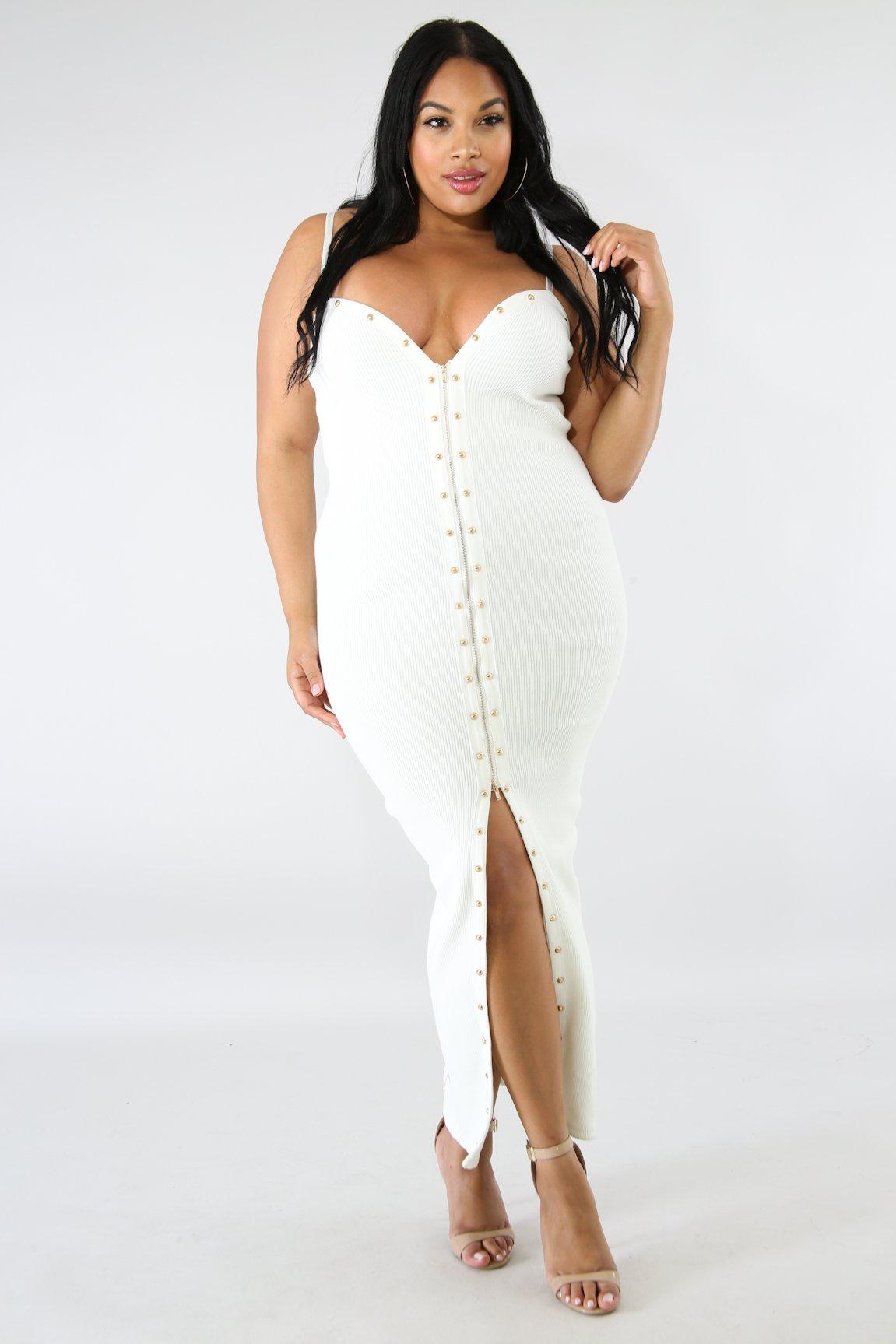 Stud Zipper Knit Maxi Dress