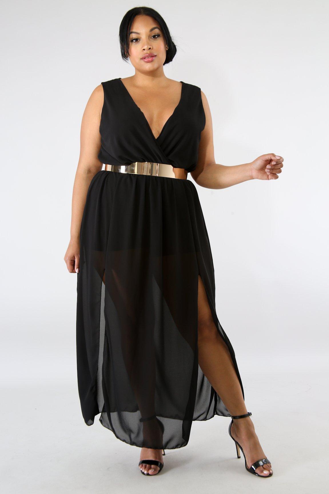 Sheer Slit Maxi Dress