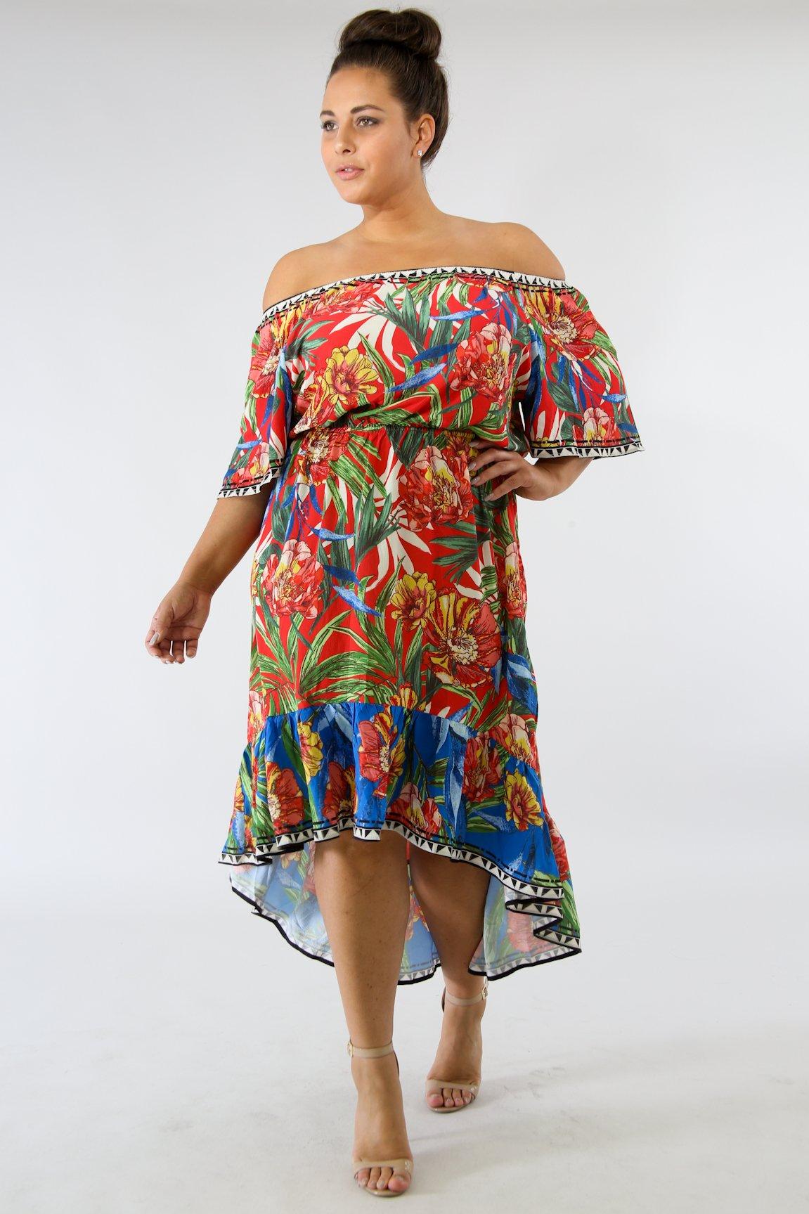 Cascading Floral Off Shoulder Dress