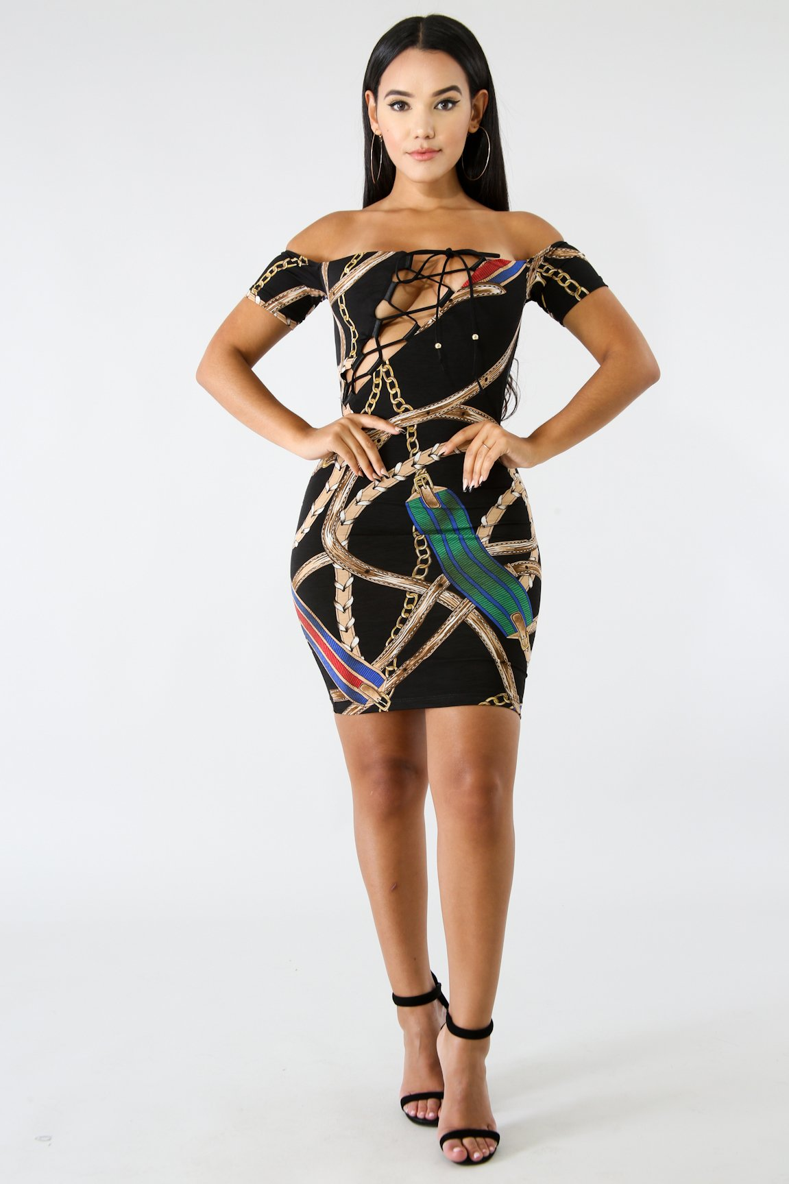 Buckle Chain Body-Con Dress