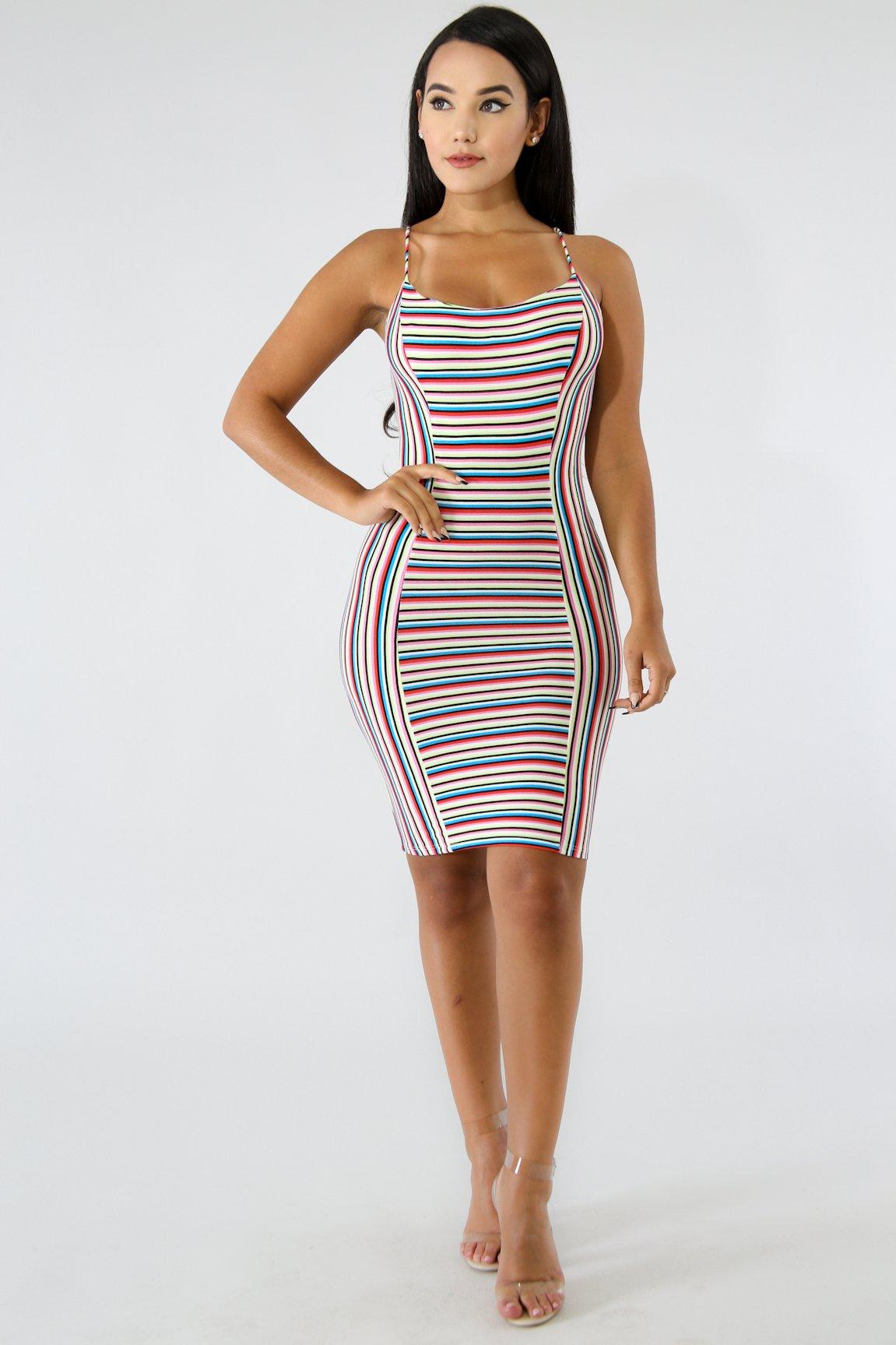 Figure Stripe Body-Con Dress
