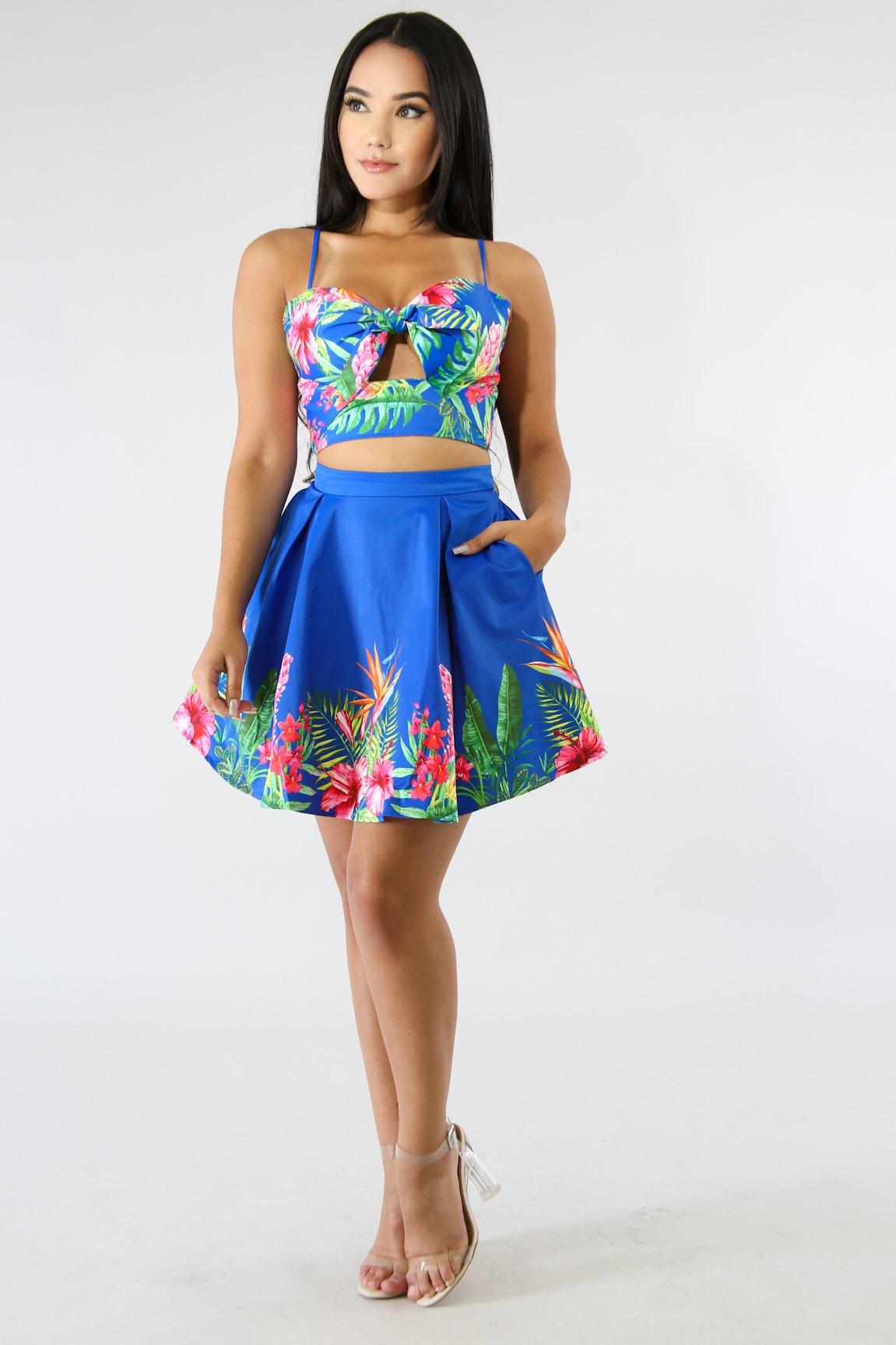 Floral Blue Tulle Skirt Set