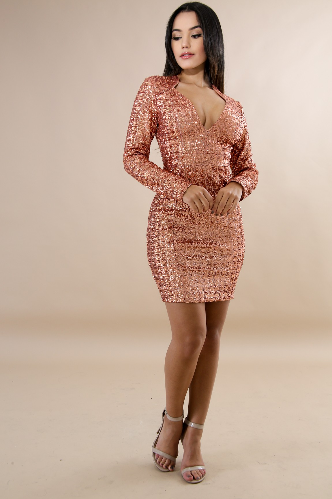 Sequin Sparkle Body-Con Dress