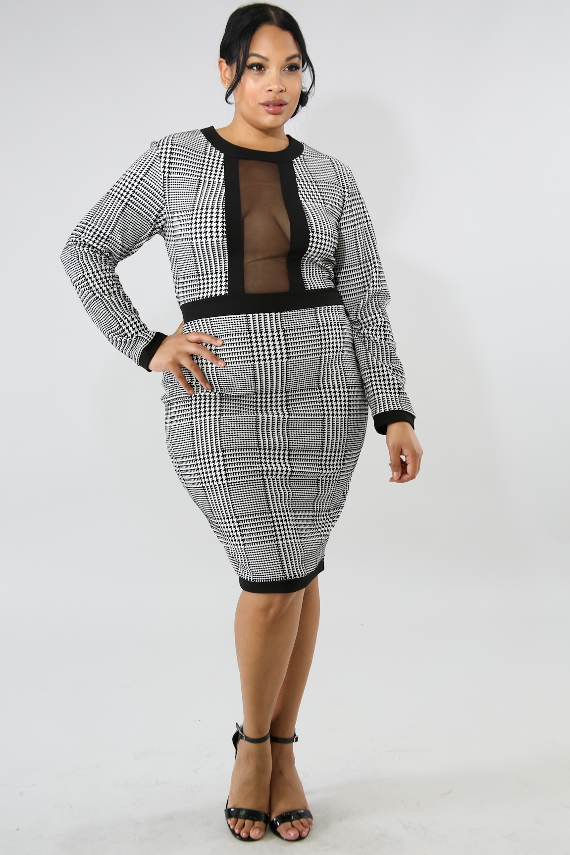 Houndstooth Body-Con Dress