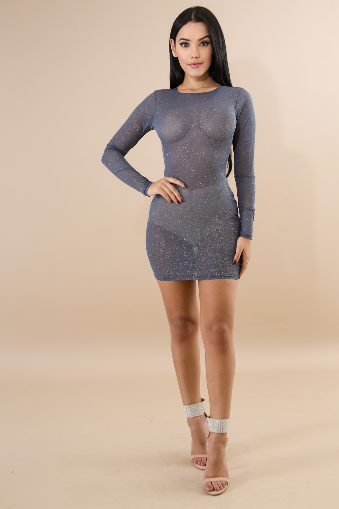 Sky Light Sheer Body-Con Dress