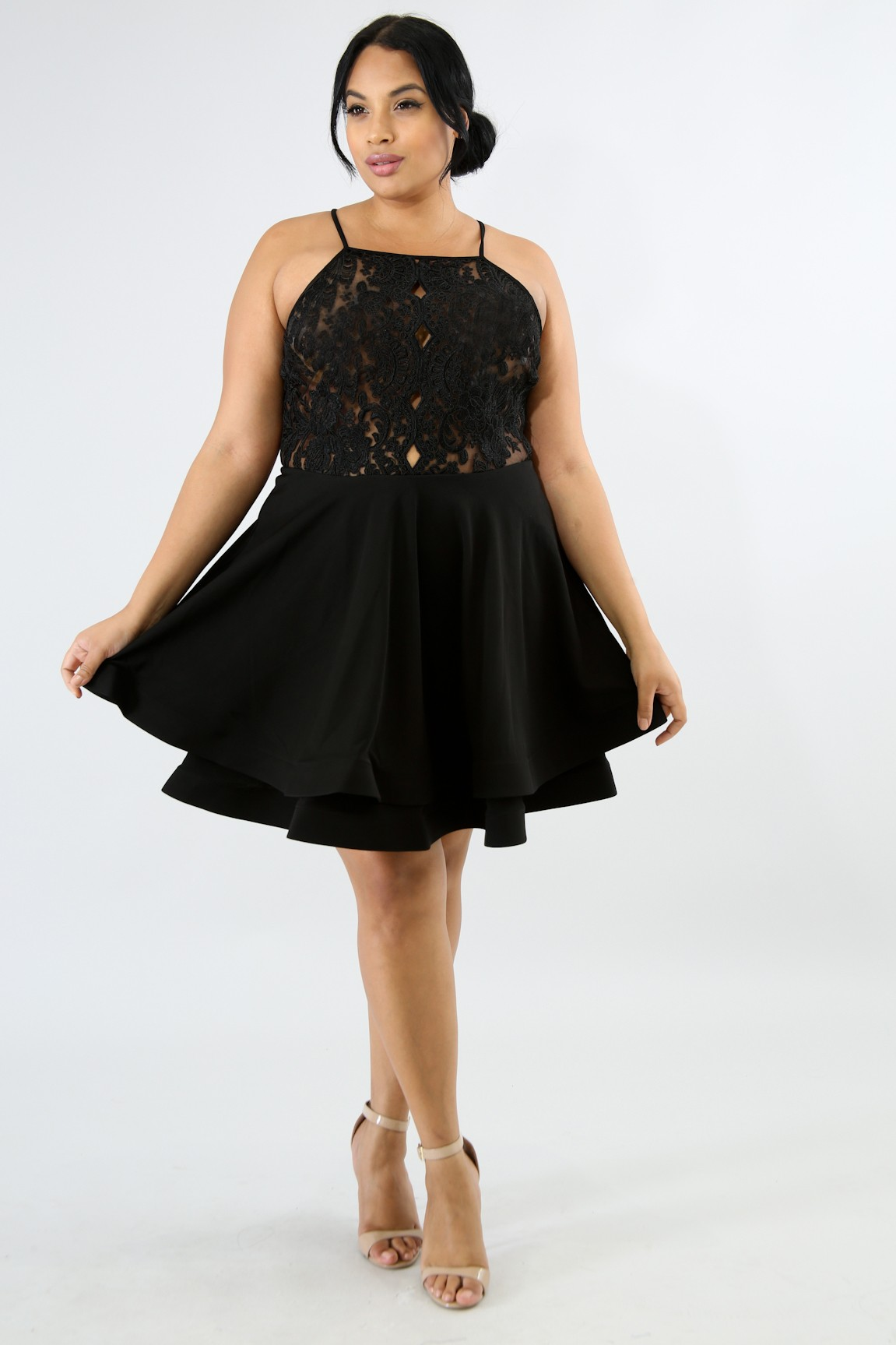Lace Swirled Flare Dress