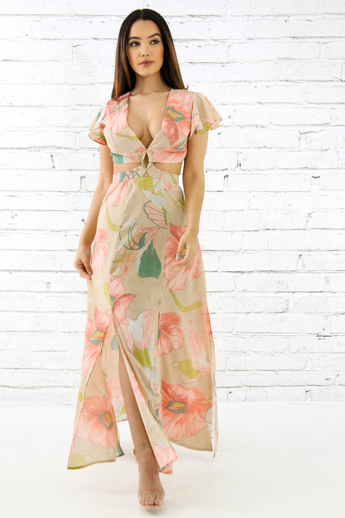 Pink Floral Flare Maxi Dress