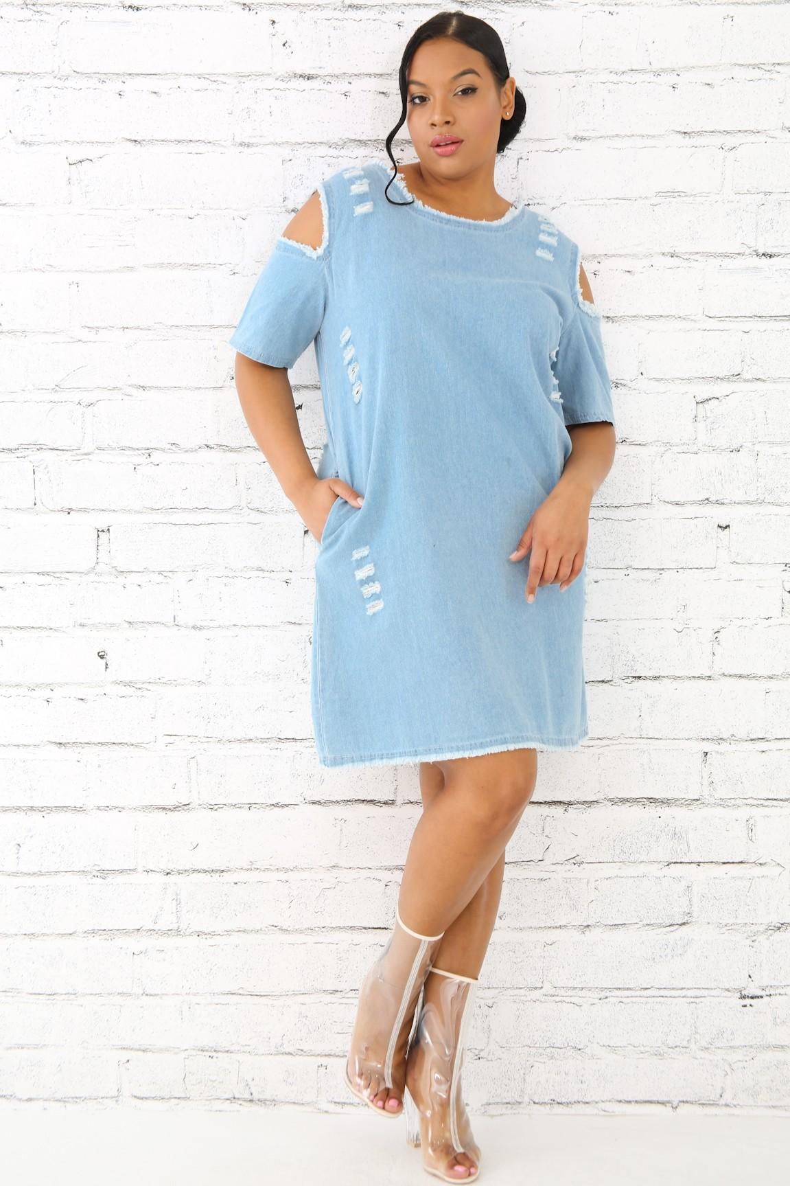 Denim Distressed Dress