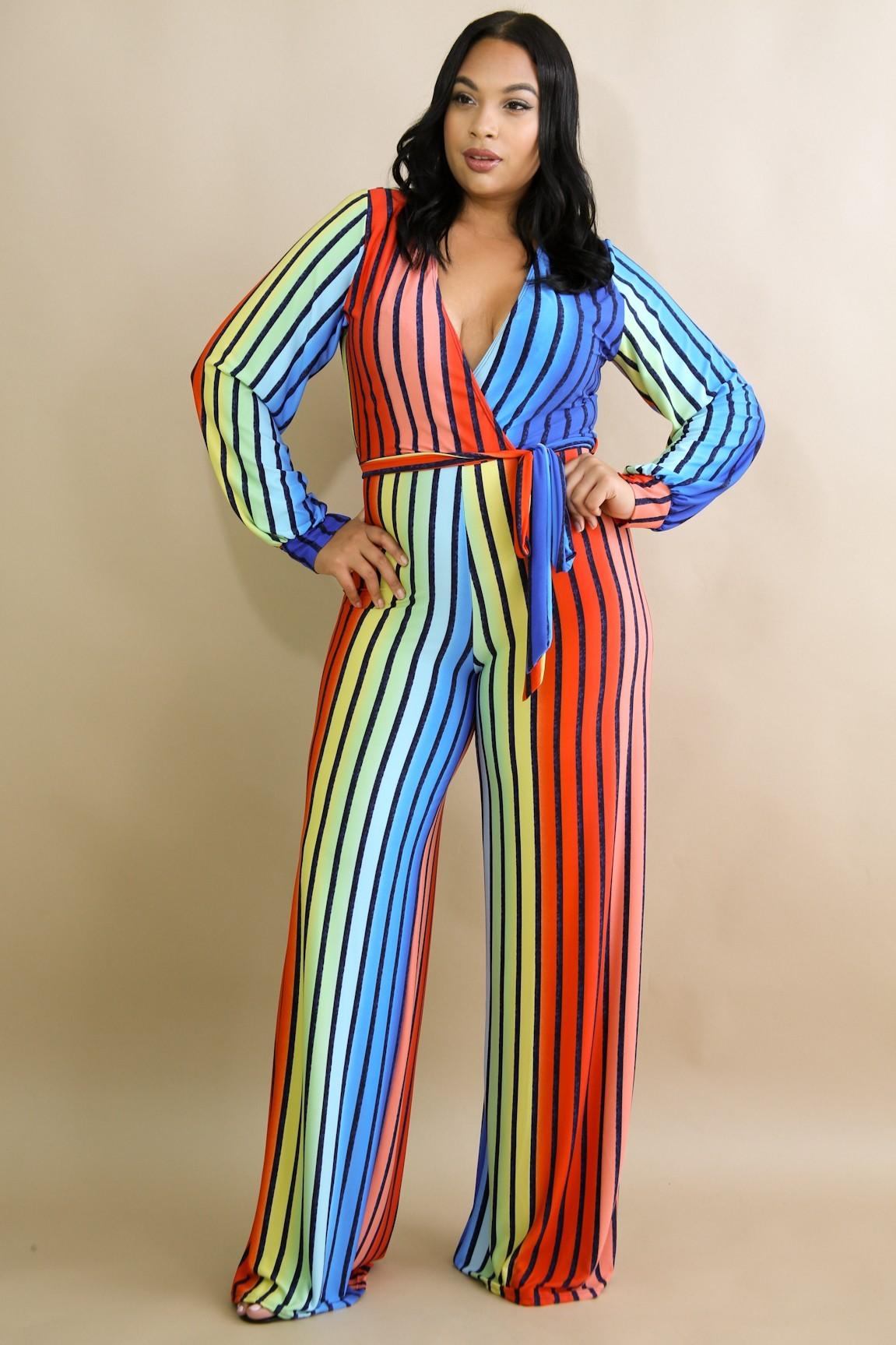 Self Tie Rainbow Jumpsuit