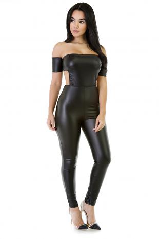 Total Knockout  Leatherette Jumpsuit