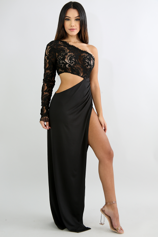 Outrageous Lace Slit Maxi Dress