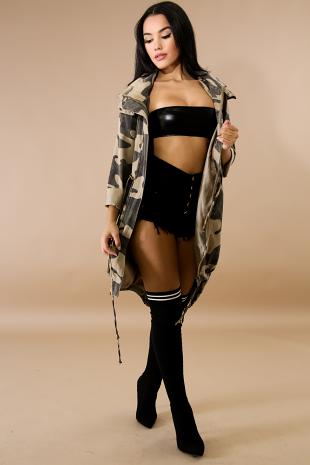Oversize Hooded Drawstring Camouflage Jacket
