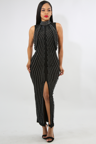 Roche Pearl Rhinestone Maxi Dress
