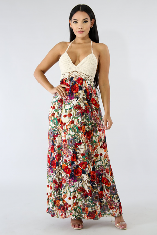 Crochet Floral Maxi Dress