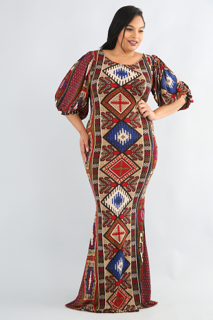 Tribal Puffy Maxi Dress
