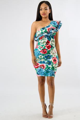Floral Cold Shoulder Body-Con Dress