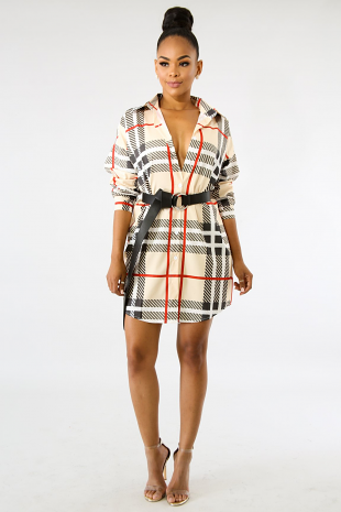 Checkered Tunic Dress