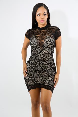 Sweet V-Lace Body-Con Dress