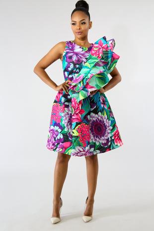 Ruffle Floral Meadows Dress