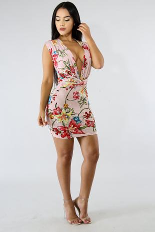 Floral Spur Body-Con Dress