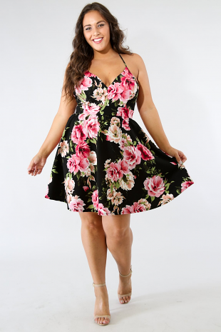 Flare Swing Rose Dress