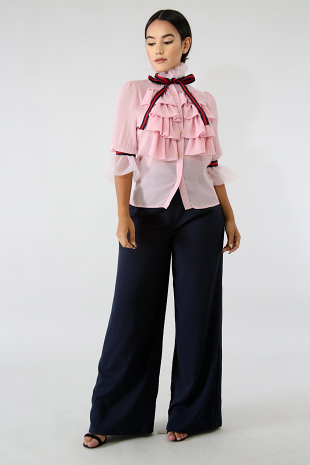 Pleats Chiffon Tie Top