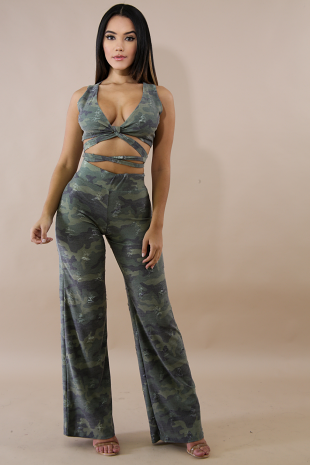 Distressed Camouflage Wrap Palazzo Set