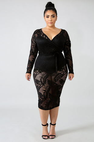 Sheer Lace Leafs Body-Con Dress