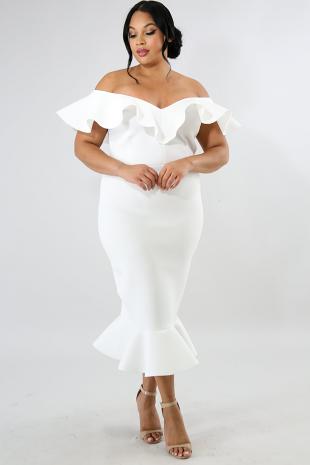 Ruffled Scuba Body-Con Dress