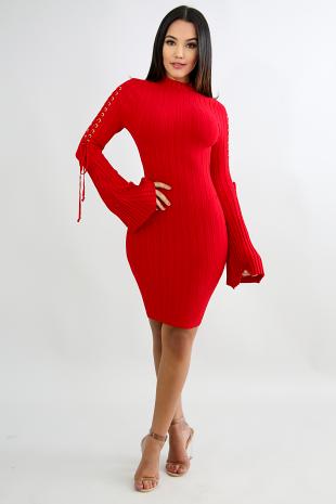 Lace Up Knit Body-Con Dress