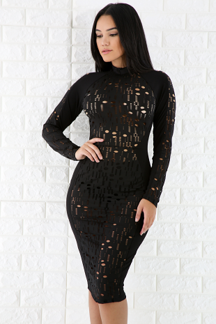 Sexy Cut Out Mesh Dress