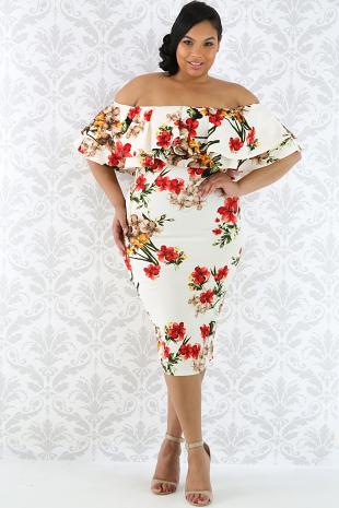 Off Shoulder Floral Print Midi Dress