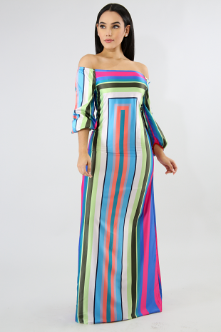 Long Stripe Maxi Dress