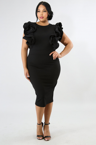 Layered Ruffle Frill Sleeve Midi Dress