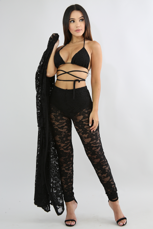Lace Robe Pant Beach Set