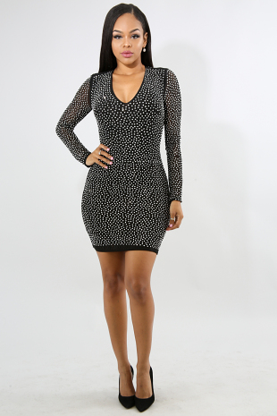 Swirl Stripe Rhinestone Body-Con Dress