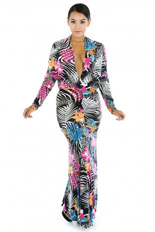 Zebra Forest Maxi Dress