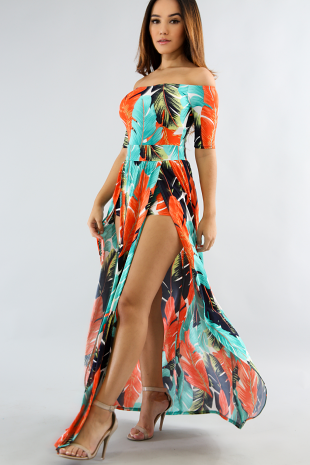 Tropical Leaf Maxi Romper