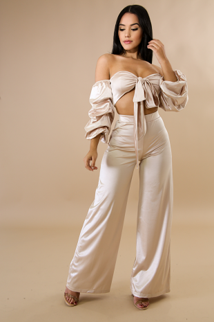 Front Bow Tie Silky Pant Set