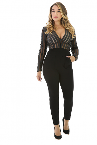 Stripped Mesh Long Sleeve Jumpsuit