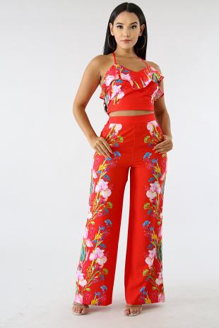 Floral Fire Palazzo Set