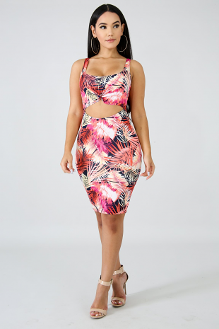 Tropical Knot Body-Con Dress