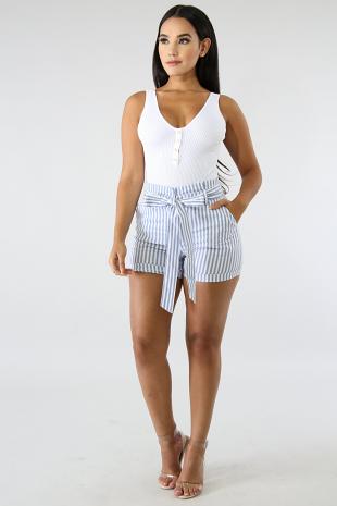 Stripe Denim Boxy Shorts
