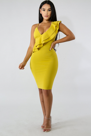 Ruffled Cold Shoulder Body-Con Dress