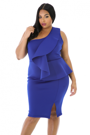 One Shoulder Ruffle French Dress