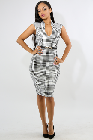 Houndstooth Elegance Body-Con Dress