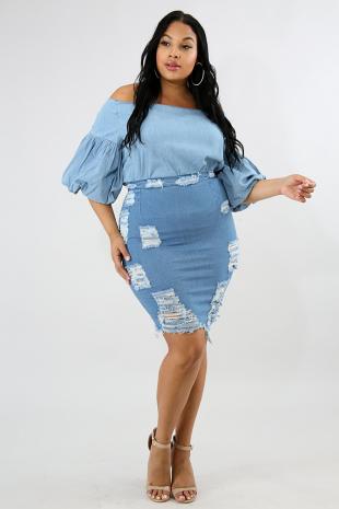 Distressed Zip Up Denim Skirt
