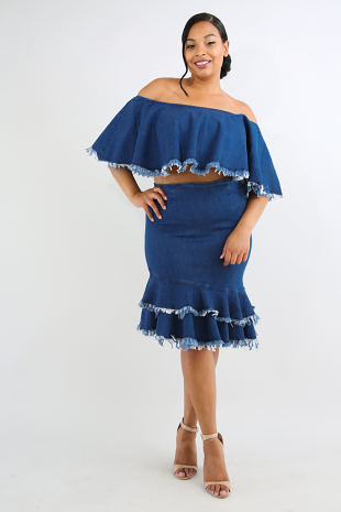 Tiered Frayed Denim Skirt Set