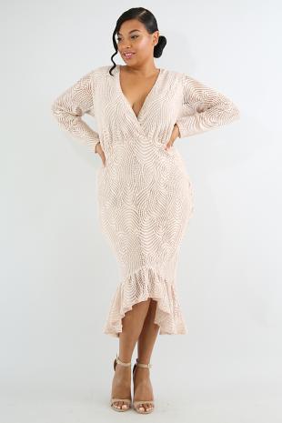 Lace Flare Body-Con Dress