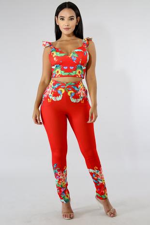 Red Garden Pants Set